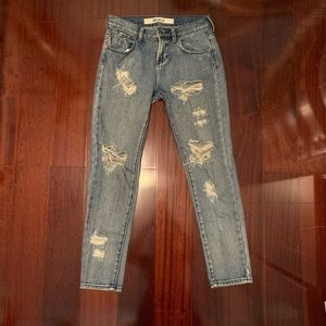 Brandy Melville Light Blue Wash Ripped Jeans